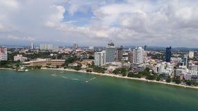 Horisont av Pattaya från flyg- sikt, Pattaya stad, Chonburi Royaltyfri Fotografi