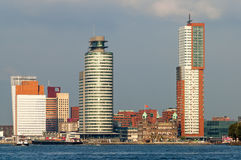 Horisont av Rotterdam i Nederländerna Arkivbilder