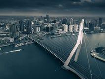 Horisont av Rotterdam med Erasmus-bron royaltyfri fotografi