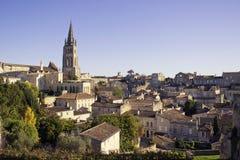 Horisont av Saint Emilion, Frankrike arkivbild