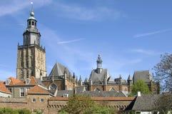 Horisont av skyddad cityscape, stad Zutphen Arkivbild