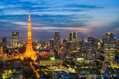 Horisont av Tokyo, Japan Arkivfoton