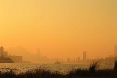 Horisont av Victoria Harbor Hong Kong Royaltyfria Foton