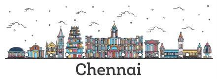 Horisont för översiktsChennai Indien stad med isolerade färgbyggnader royaltyfri illustrationer