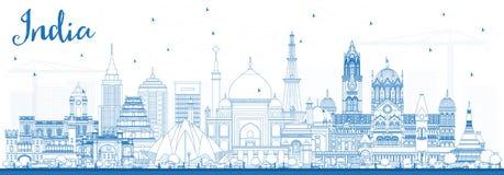 Horisont för översiktsIndien stad med blåa byggnader delhi Mumbai B stock illustrationer