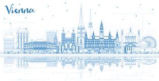 Horisont för översiktsWien Österrike stad med blåa byggnader och Refl vektor illustrationer
