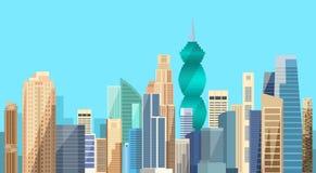 Horisont för bakgrund för Cityscape för Panama City skyskrapasikt royaltyfri illustrationer