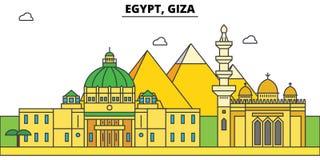 Horisont för Egypten Giza översiktsstad, linjär illustration, baner, loppgränsmärke, byggnadskontur, vektor royaltyfri illustrationer