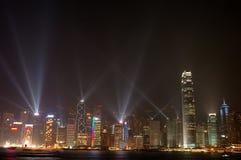 horisont för Hong Kong nattplats Arkivfoto