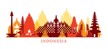 Horisont för Indonesien arkitekturgränsmärken, Shape Arkivfoto