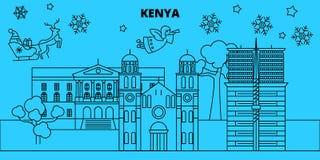 Horisont för Kenya vinterferier Glad jul, det lyckliga nya året dekorerade banret med Santa Claus Kenya linjär jul stock illustrationer