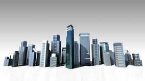 Horisont för konstruktionsbyggnadsstaden och gör staden i animering 3 stock video