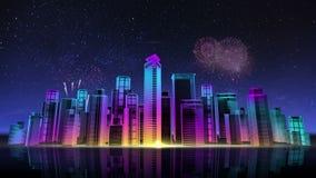 Horisont för konstruktionsbyggnadsstaden och gör staden i animering nattetid 3 arkivfilmer