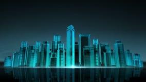 Horisont för konstruktionsbyggnadsstaden och gör staden i animering nattetid 2 lager videofilmer