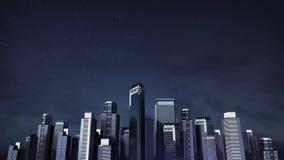 Horisont för konstruktionsbyggnadsstaden och gör staden i animering nattetid 1 stock video