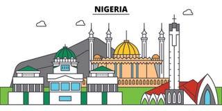 Horisont för Nigeria översiktsstad, linjär illustration, baner, loppgränsmärke royaltyfri illustrationer