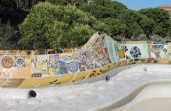 horisont för park för landmark för guell för gaudi för antoniobakgrundsbarcelona cityscape berömd arkivfoto