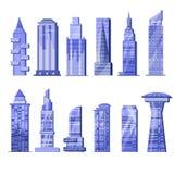 Horisont för stad för byggnadsskyskrapavektor och officebuilding för affär av arkitektur för kommersiellt företag och byggandein  vektor illustrationer