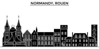 Horisont för staden för den Frankrike Normandie, Rouen arkitekturvektorn, loppcityscape med gränsmärken, byggnader, isolerade på  vektor illustrationer