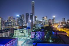 Horisont f?r Peking CBD fotografering för bildbyråer