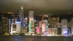 Horisont Hong Kong på natten Royaltyfri Fotografi