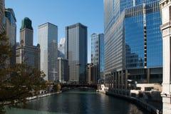 Horisont i i stadens centrum Chicago, Illinois Fotografering för Bildbyråer