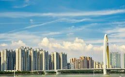 Horisont Kina för Guangzhou modern stadssikt Arkivbilder