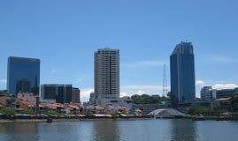 Horisont längs den Singapore floden Royaltyfria Foton