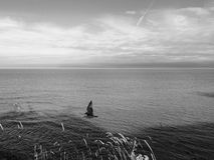 Horisont på havet i svartvitt Royaltyfri Fotografi