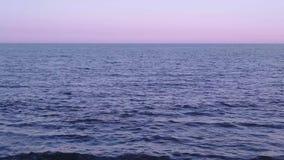 Horisont på havet på solnedgången stock video