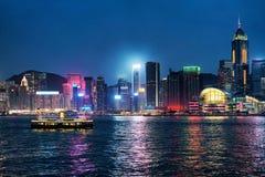 Horisont på Victoria Harbor av Hong Kong Royaltyfria Bilder