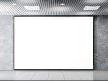 Horisontal blank billboard on a stone wall. 3d rendering Stock Photography