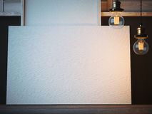 Horisontal blank canvas in artist's workshop. 3d rendering Royalty Free Stock Photography