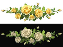 Horisontal border with roses branches. Royalty Free Stock Images