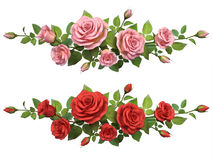 Horisontal border with roses branches. Stock Photography