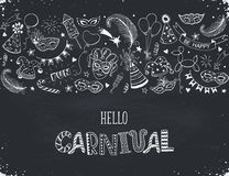 Carnival greeting card. Horisontal carnival vector composition on chalkboard. Hand drawn carnival objects. Masqeurade design elements collection in line art Royalty Free Stock Images