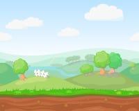 Horisontal för gulligt land för tecknad film sömlöst stock illustrationer