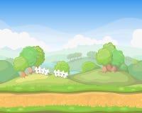 Horisontal för gulligt land för tecknad film sömlöst royaltyfri illustrationer