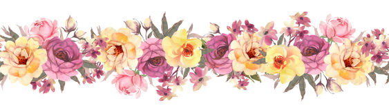 Horisontal floral banner with roses. Seamless pattern. Horisontal floral banner with  roses. Seamless pattern Royalty Free Stock Images