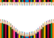 Horisontal frame with colorful pencils on white background Royalty Free Stock Images