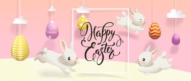 Horisontal Happy Easter banner template with eggs hanging on strings, cute white rabbits jumping around, square border Royalty Free Stock Photo