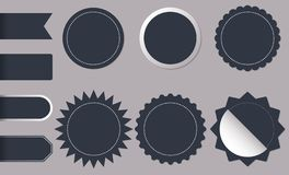 Horisontal och rund formcirkelklistermärkear för ny och bästa ankomst shoppar produktetiketter, emblemet, etiketter eller försälj royaltyfri illustrationer