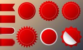 Horisontal och rund formcirkelklistermärkear för ny och bästa ankomst shoppar produktetiketter, emblemet, etiketter eller försälj stock illustrationer
