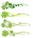 Horisontal Spring Banner with blooming clovers Stock Image