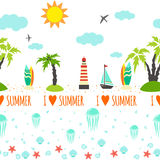 Horisontal summer seamless pattern for trip. Royalty Free Stock Photography
