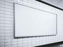 Horisontal vit affischtavla på tunnelbanastation framförande 3d stock illustrationer