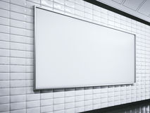 Horisontal white billboard on metro station. 3d rendering Royalty Free Stock Photo