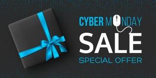 Horisontalaffisch eller baner för Cybermåndag försäljning royaltyfri illustrationer