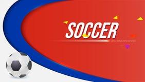 Horisontalbakgrund av koppen 2018 för fotboll- eller fotbollvärldsmästerskap Affisch med att spela bollen Vektor 3D royaltyfri illustrationer