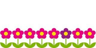 Horisontalbakgrund med rosa blommor vektor illustrationer
